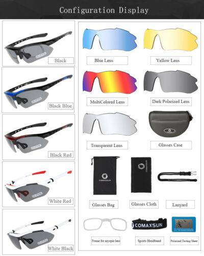 Comaxsun Polarized Cycling Glasses Bike Goggles Fishing Sunglasses UV400 5 Lens