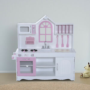 Kids Wooden Craft Pretend Play Toy Set Kitchen Food Cooking Appliances