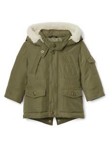 d93db3b7568f Baby Gap Toddler Boys Olive Hooded Fishtail Puffer Parka Coat Jacket ...