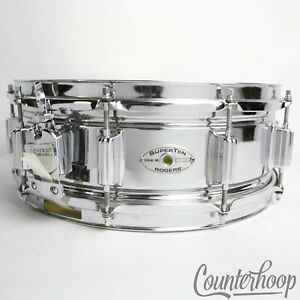 Rogers-SuperTen-14x5-034-Snare-Drum-COS-Steel-10Lug-Vintage-70s-1973-Script-Chrome