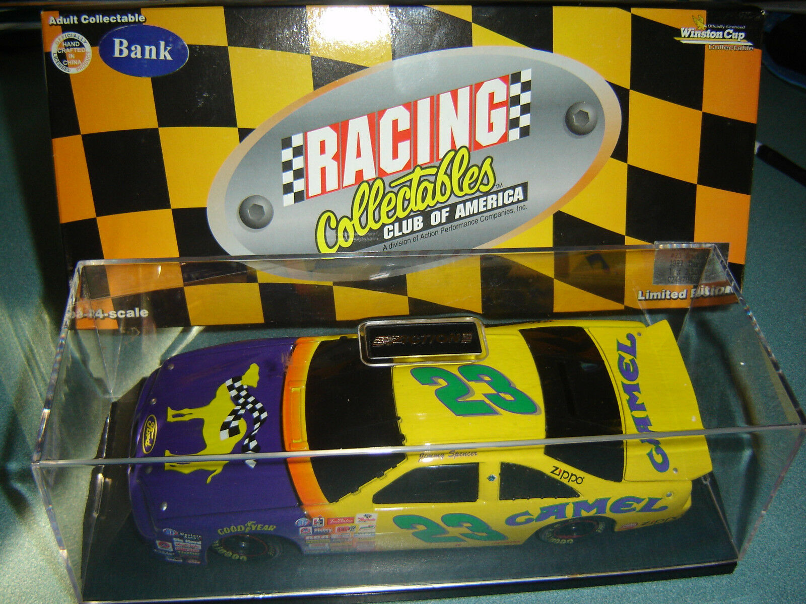 Jimmy Spencer  23 Smokin' Joe's Camel 1997 Ford Tbird con   Funda 1 24 Acción