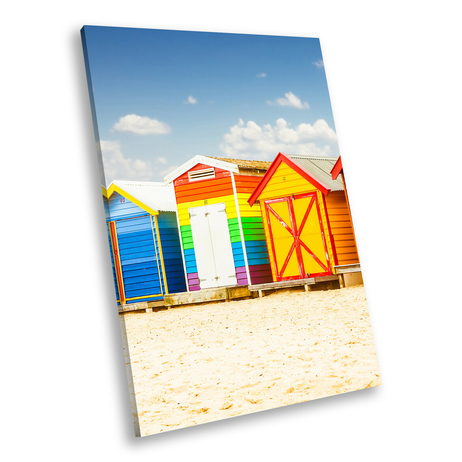 Colourful Beach Huts Retro Portrait Scenic Canvas Wall Art Large Picture Prints