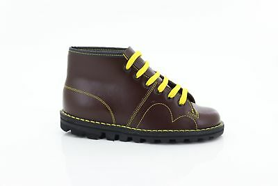 Grafters Unisex Original Retro Lace Up Monkey Boots 1960/'s Style Wine Coated Lea