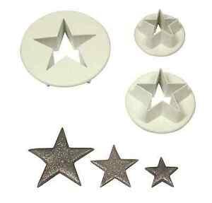 PME-Juego-de-3-S-M-L-Estrella-Moldes-Corte-plastico-glaseado