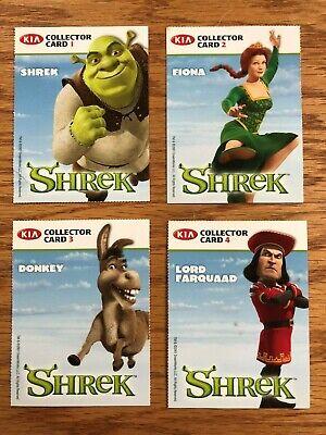 Shrek The Movie Promo Trading Cards Kia Motors Collector Cards Set 1 4 Rare Ebay