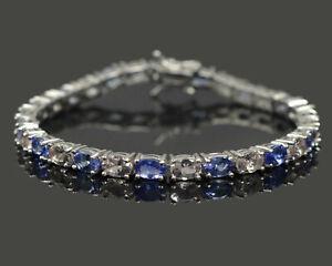 6x4mm-Natural-Morganite-amp-Tanzanite-Gemstone-925-Sterling-Silver-Tennis-Bracelet