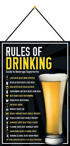 Rules Of Drinking Tin Sign Shield with Cord 20 X 30 CM FA0845-K