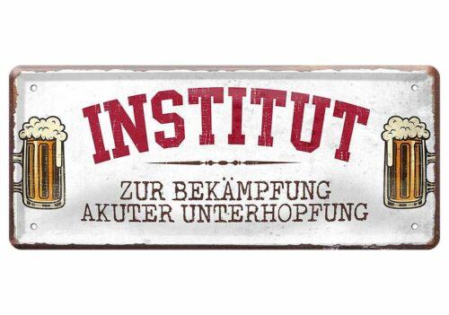 Blechschild lustige Sprüche Deko Schild Institut für Unterhopfung Bier 28x12 cm
