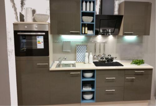 Pinie Küchenzeile 230 cm Schränke montiert! Einbauküche MANKAONYX 8 Onyxgrau