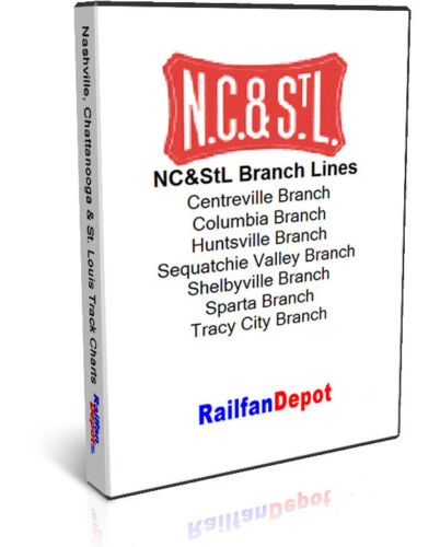 PDF on CD NC/&StL track chart Set of 7 Branches RailfanDepot