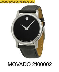 BOX-SET-MOVADO-Museum-2100002-Classic-Black-Leather-Analog-Quartz-Men-039-s-Watch