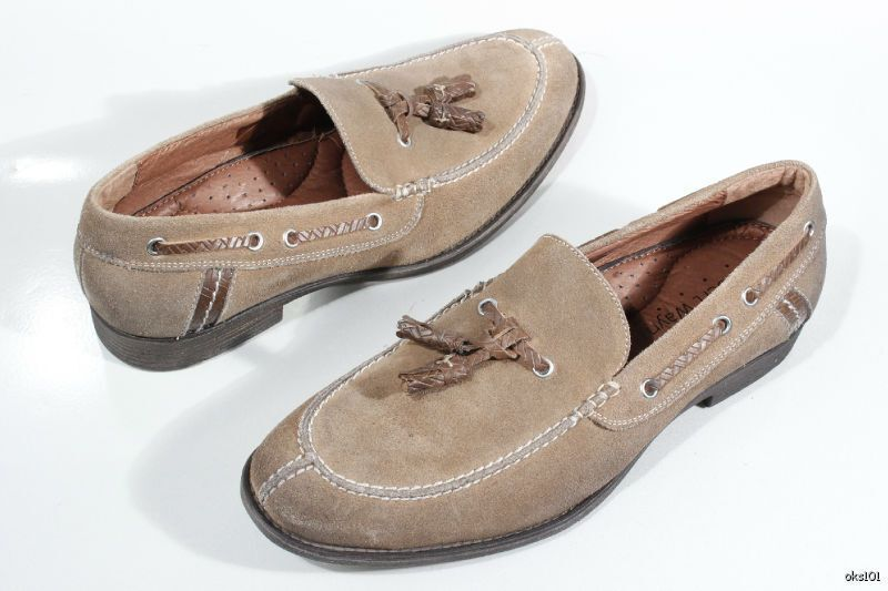 new classy mens loafers ROBERT WAYNE taupe/sand suede loafers mens with tassels shoes 8 508df7