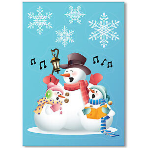 Singing-Snowmen-Vinyl-Window-Sticker-32-Snowflake-Clings-Christmas-Decorations
