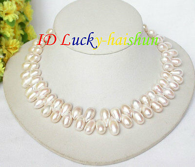 """luster baroque 17/"""" 15mm rice white freshwater pearls necklace j8050"""