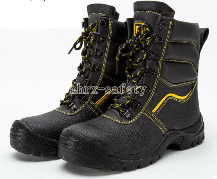 Men's Leather Safety Shoes Steel Toe Breathable Ankle Work Boots for Winter