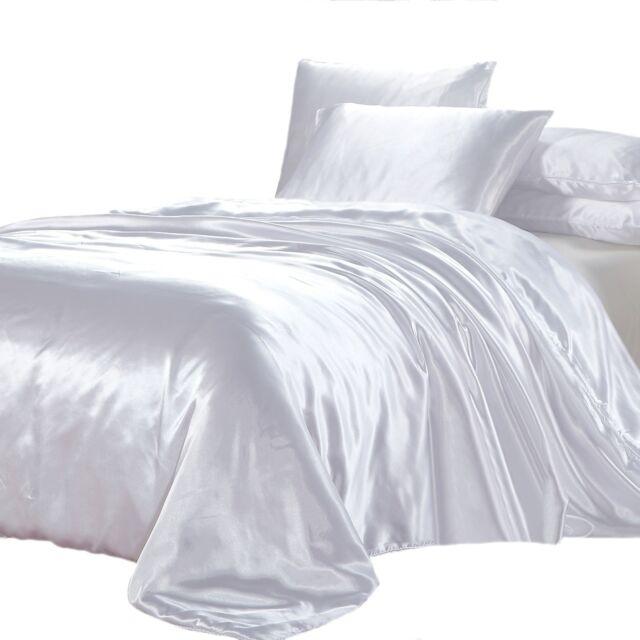 WHITE SATIN KING Quilt Cover Luxury Soft Silk Feel Size Doona Duvet Bedding Set