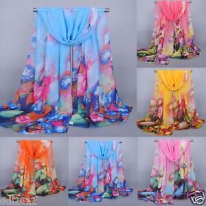 Fashion-Women-Ladies-Flower-Pattern-Wrap-Shawl-Long-Chiffon-Neck-Scarf-Scarves