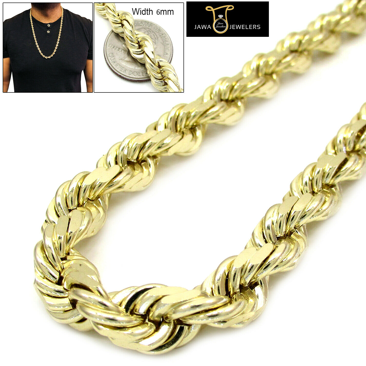 649b13ffb3e21 30 to 22 mm 6 Chain Rope Hollow gold Yellow 14k in Inches Style Cut ...