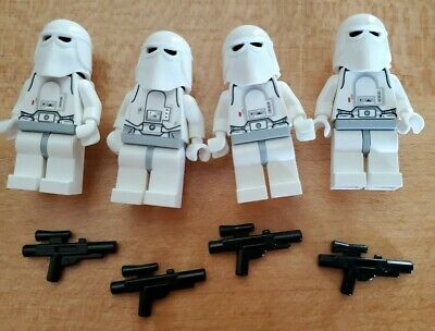LOT OF 4 LEGO Star Wars Imperial Snow Trooper w// Original Blasters