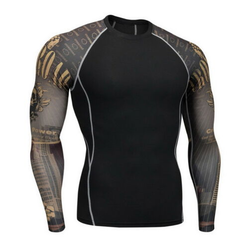 Mens Quick Drying Base Layer Compression Thermal Tops Sports Long Sleeve Shirt