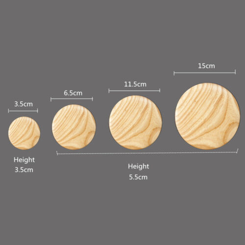 5Pcs Solid Wooden Round Hooks Wall Mounted Hanger Clothes Coat Hat Bag Rack  ~