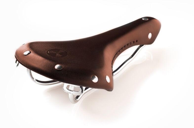 Cocheretera de cuero clásico retro   silla de montar en bicicleta (marrón)