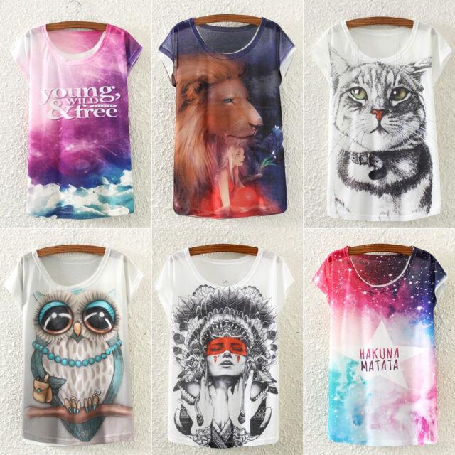 Fashion Women's Loose Casual Short Sleeve Printing Summer Blouse T-shirt Tops
