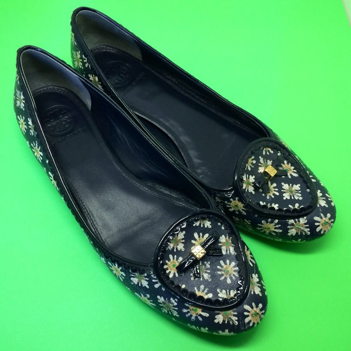 TORY BURCH Dakota Leather Floral Lace Trim Bow Smoking Slipper Loafer shoes 10