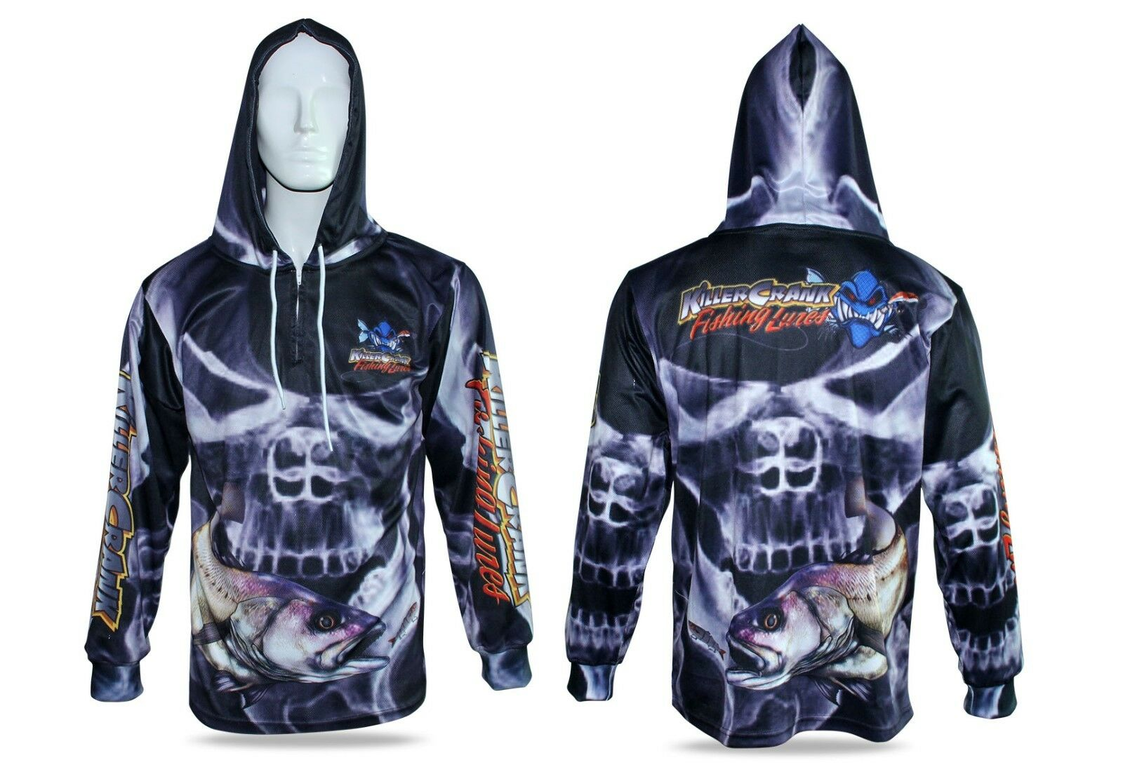 Smokey Skull Jewfish Hooded Fishing Shirt Mens XS Up To 6XL + Kids 6,8,10,12