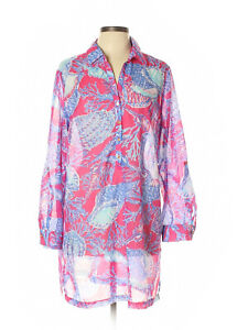 Women-Talbots-Red-Blue-Shell-Coral-Beach-Coverup-Pullover-Dress-Size-L