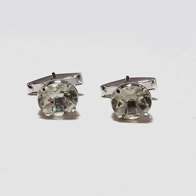 Natural Green Amethyst Gem Cufflink for Men in Solid 925 Sterling Silver AAA Quality Gemstone,February Birth Stone Perfect Gift