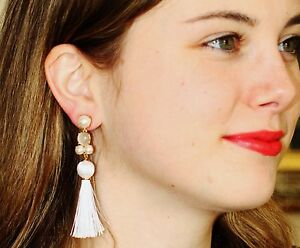5902ba41fb5d5 Details about kate spade in the swing of things tassel earrings fringe  White jewels chandelier