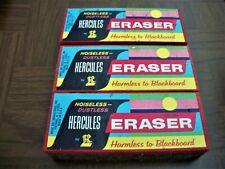 Lot Of 3 Vintage Hercules Chalkboard Erasers Noiseless Dustless By Rose Art