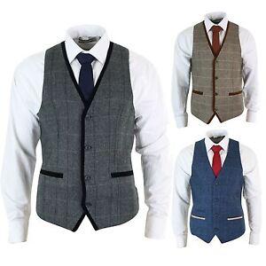 Royaume-Uni disponibilité check-out gamme exceptionnelle de styles et de couleurs Details about Mens waistcoat tweed herringbone jacket and velvet vintage  tiles edges- show original title