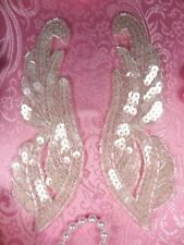 "0033 Appliques Crystal Mirror Pair Sequin Beaded 6.25"" Wings"