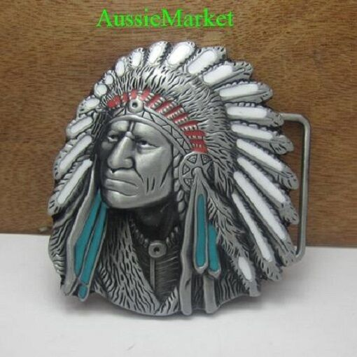 1 x mens ladies belt buckle metal alloy american usa u.s. indian feathers new