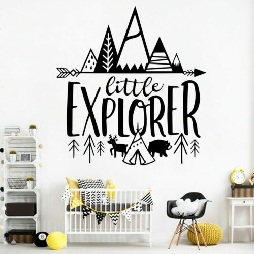 Nordic Little Explorer Vinyl Stickers Quotes for Kids Room Decor Adventure Wall