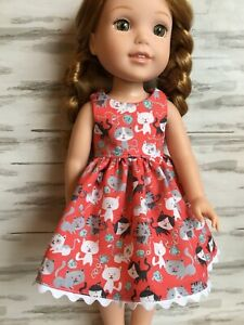 """14.5/"""" Doll Clothes-fit American Girl-Wellie Wishers-Party Dress-Red Lace Hearts"""