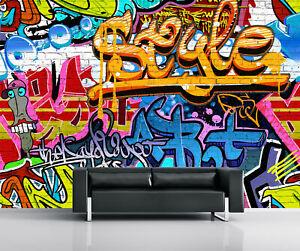 Carta Da Parati Murales.315x232cm Carta Da Parati Graffiti Foto Murale Parete Camera Da Letto Per Bambini Blu Arancione Ebay