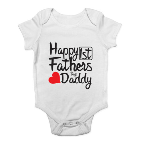 Baby Happy 1st Fathers Day Daddy Boys Girls Baby Vest