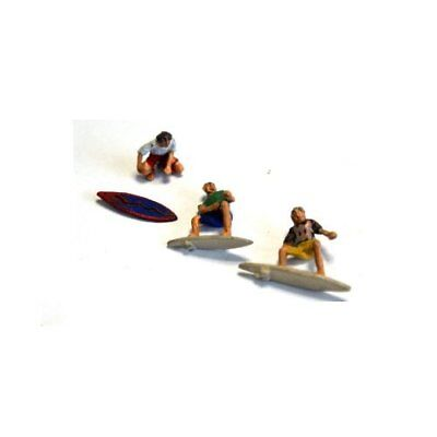 3 Surfers, 2 In Riding Positions And 1 Waxing Board (unpainted Oo) Langley F272