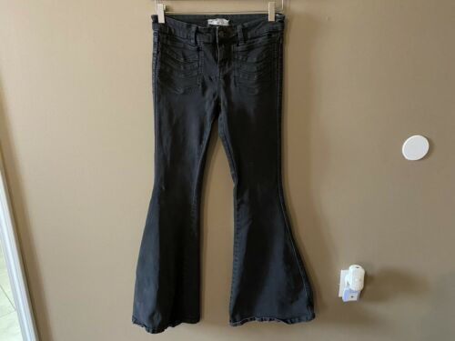 Free People Flare Bell Bottom Black Jeans Size W26