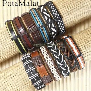 PotaMalat-12pcs-Handmade-Genuine-Leather-Bracelets-Wholesale-Unisex-Bangle-D60