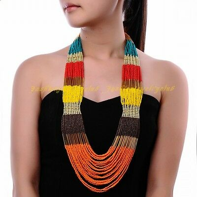 Fashion Jewelry Multilayers Handmade Colorful Seed Beads Long Chain Bib Necklace