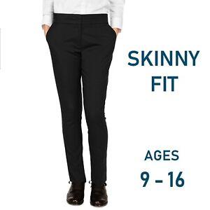 Ex-M-amp-S-Girls-Skinny-Leg-School-Trouser-Ages-9-16-Black-Slim-Tapered-Narrow-Leg