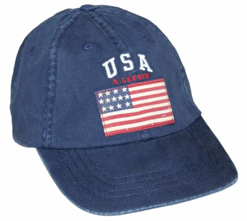 Polo Ralph Lauren Men/'s Navy USA Flag Adjustable Baseball Hat