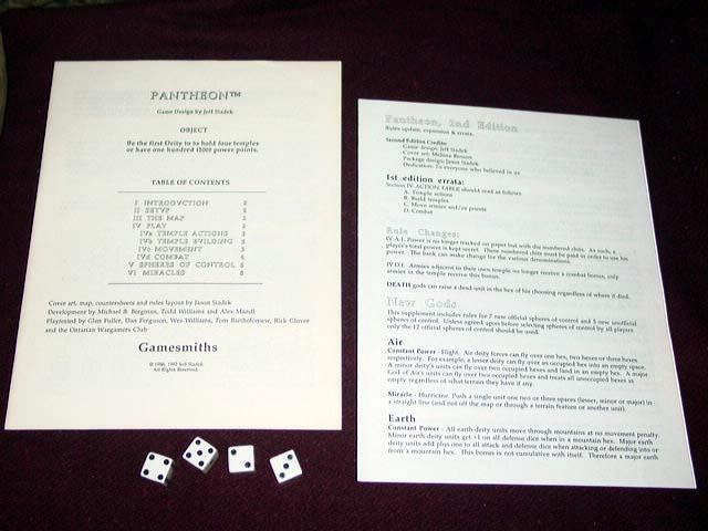 Gamesmiths Inc - Pantheon - The War War War of the Gods  2nd Edition (UNPUNCHED) (RARE) e5e5e0