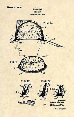 Original Firefighter Helmet US Patent Art Print Official 1926 Cairns FDNY 280