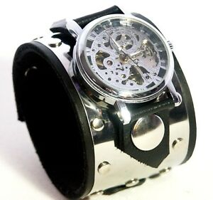 Stainless-Steel-Leather-Watch-Wrist-band-Bracelet-Steampunk-GOTHIC-Mechanical