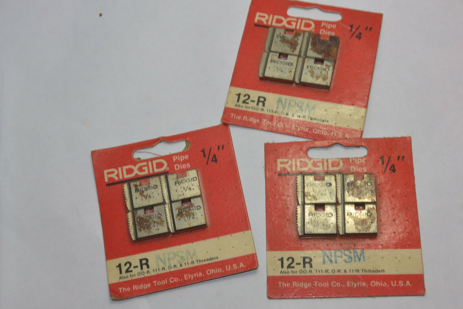 3 NEW PACKAGES NEW RIDGID 1 4  12-R PIPE DIES  NPT  NPSM FOR 00-R 111-R 0-R 11-R